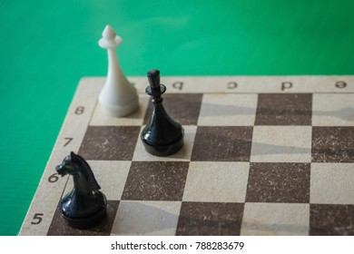 The chess game is over by the rout of the whites. The enemy is cornered, there is no way out. Green background, side lighting.