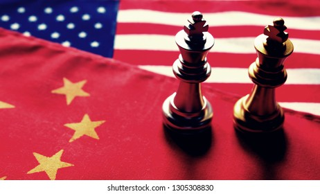 Chess game. Two kings face to face on Chinese and American national flags. Trade war and conflict between two big countries. USA and China relationship concept. Copy space.