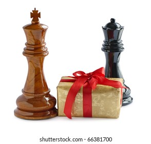 Chess and gift isolated on white background