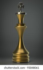 Chess golden King. High resolution. 3D image