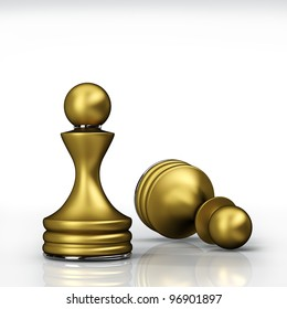Chess golden Pawn isolated on white background. High resolution. 3D image