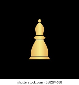 Chess Icon Illustration. Flat simple gold pictogram on black background