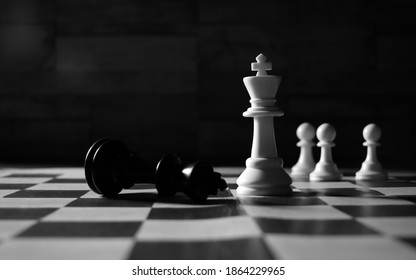 Chess King Checkmate Black and While Image