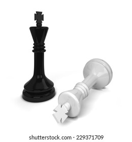 Chess king defeated. 3d illustration isolated on white background