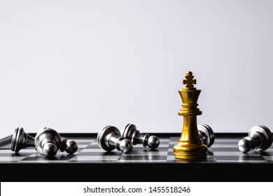 A chess king last stand as a true winner.Money game concept. Copy space.