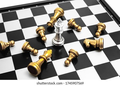 A chess king last stand as a true winner.Money competitiveness concept. Copy space.