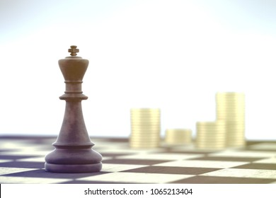 Chess King planes a business strategy over chessboard on white background.