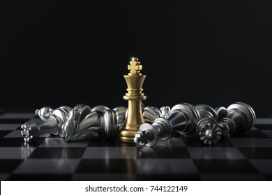 Chess (King wins the game) on black background. Success, business strategy, victory, win, winner, intellect, tactics, defeat, beat, knock, checkmate, leader or leadership concept.