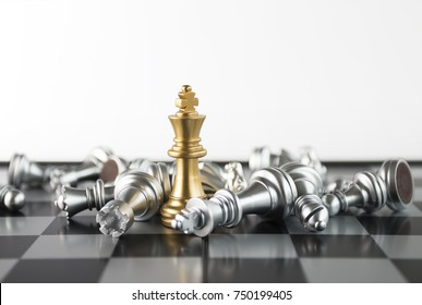 Chess (King wins the game) on white background. Success, business strategy, victory, win, winner, intellect, tactics, defeat, beat, knock, checkmate, leader or leadership concept.