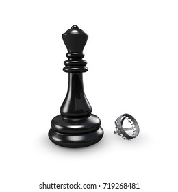 Chess king without crown. Defeat failure concept 3D illustration.