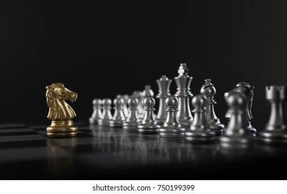 Chess (knight confront opponent or competitor) on black background. Strategy, market share, business investment, business competition, opportunity, brave, fearless, dare, fight or front line concept.