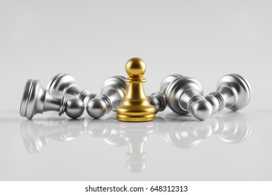 Chess leadership concept with gold and silver chess isolated in white background