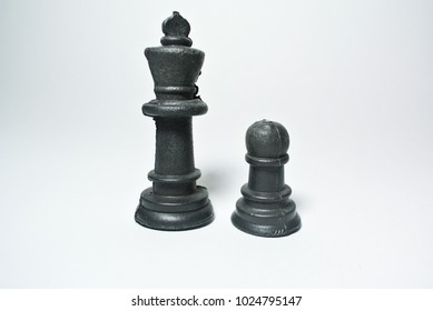 Chess objects on the white background with simple and creative concept.