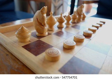 chess old wood game