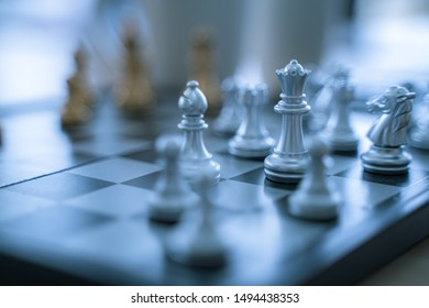 Chess on the board, concept of fighting and planning