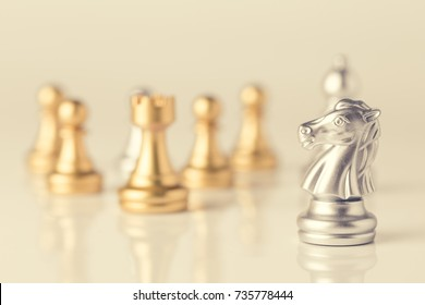 Chess on a chessboard at black background, Business leader concept. vintage tone.