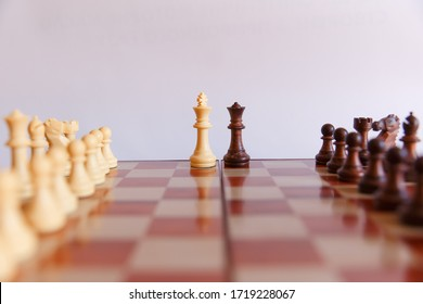 chess on a chessboard on a white background