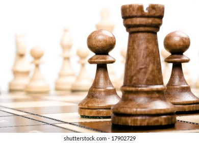 chess on white (focus on pawns)