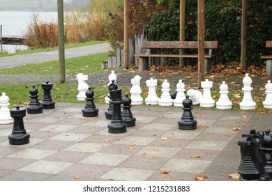 Chess in a park with big chess men, Bavaria