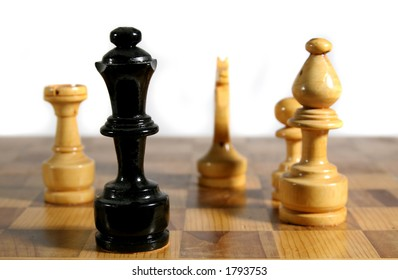 Chess pieces in check mate