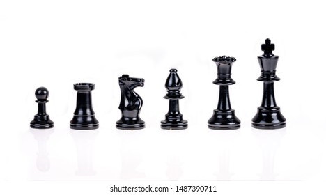 Chess pieces isolated on white background