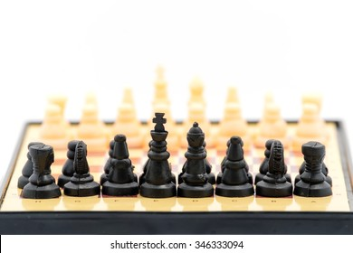 Chess pieces isolated on white background.