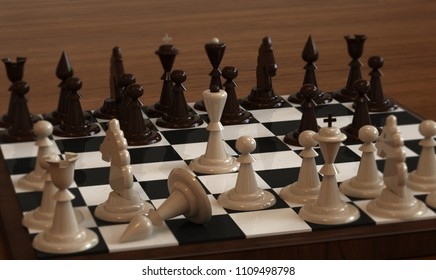 The chess pieces are light and dark brown on the chessboard with the Queen in the center. 3D illustration.