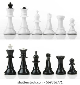 Chess pieces lined up in a row on a white background isolated.Collage