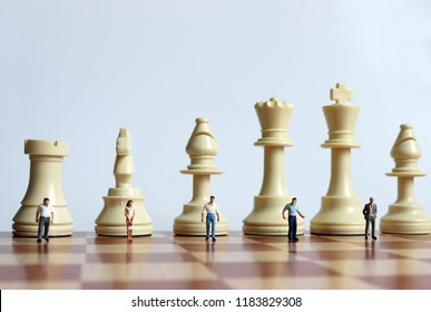 The chess pieces and the miniature people on the chessboard.
