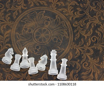 Chess Pieces on Bottom of Antique Table