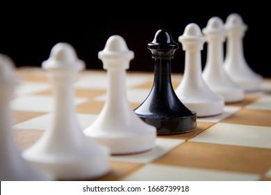 chess pieces on chessboard, checkmate photo dark bg