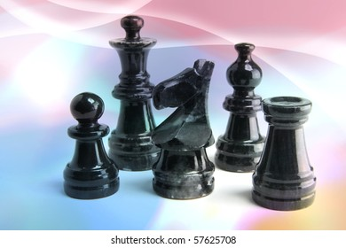 Chess Pieces on Digital Background