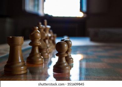 Chess pieces in position at the beginning of a match