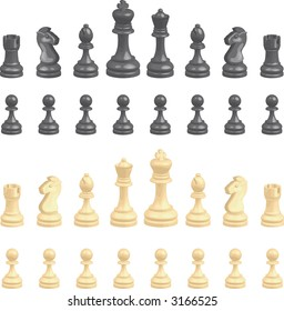 Chess pieces set A complete set of chess pieces. . Raster version