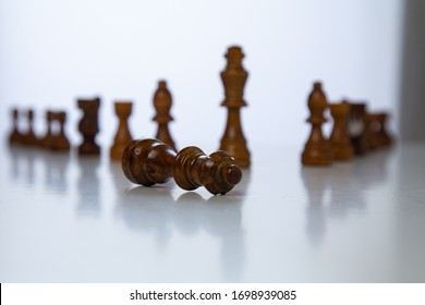 Chess placed on a wooden table, concept: of business strategy and tactic battle, symbol competition game success play victory war leader, Planning a business teamwork battle strategy for success