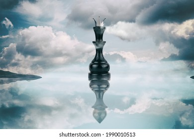 Chess Queen with pawn reflection. Megalomania concept. In life and business, people are deceiving at first glance. Lifestyle. Business. Background.