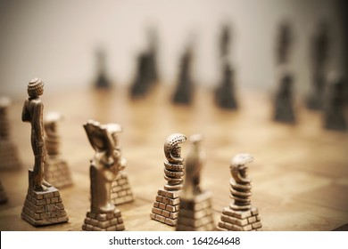 Chess set ready for game