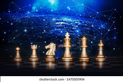 Chess set.Gold chess pieces on chess board,Business ideas and competition and strategy ideas concep.