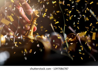 chess strategy victory 1st prize with confetti paper shoot business successful ideas concept