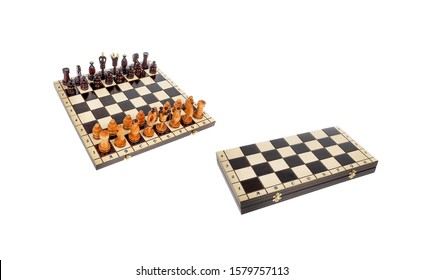 Chessboard with chess pieces isolated on white. Chessboard isolated on white background. Chessboard