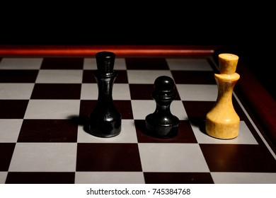 chessboard in the dark. the course of the white king. stalemate.