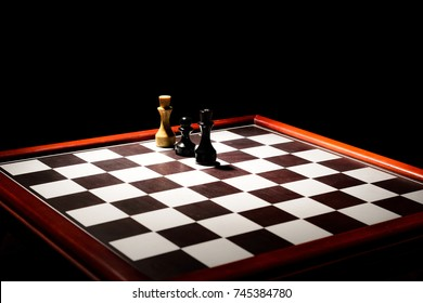chessboard in the dark. stalemate the white king from a pawn.