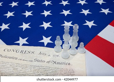 chessman and declaration of independence on the ensign of the USA