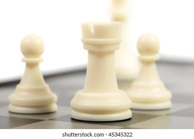 chessmen on a chessboard