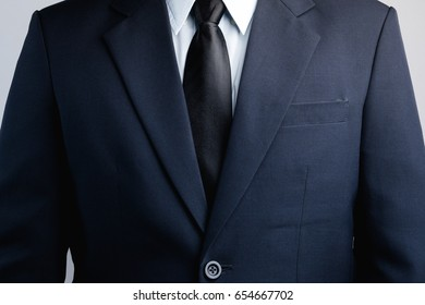 Chest of business man in suit
