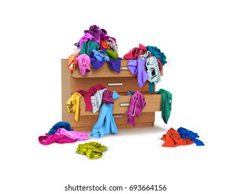 Chest of drawers with clothes on white background.