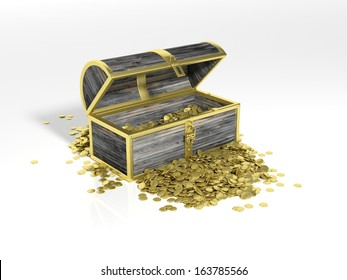 Chest with gold coins isolated on white