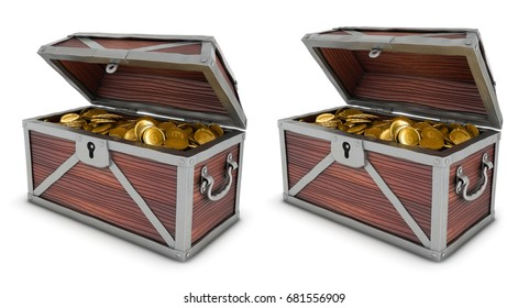 Chest with gold coins. A set of 3d images isolated on white