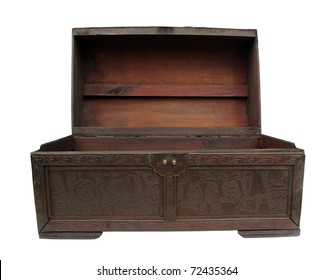 Chest old wooden case trunk