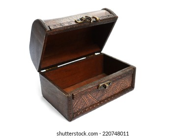 chest open and empty of brown wood with a pattern on a white background